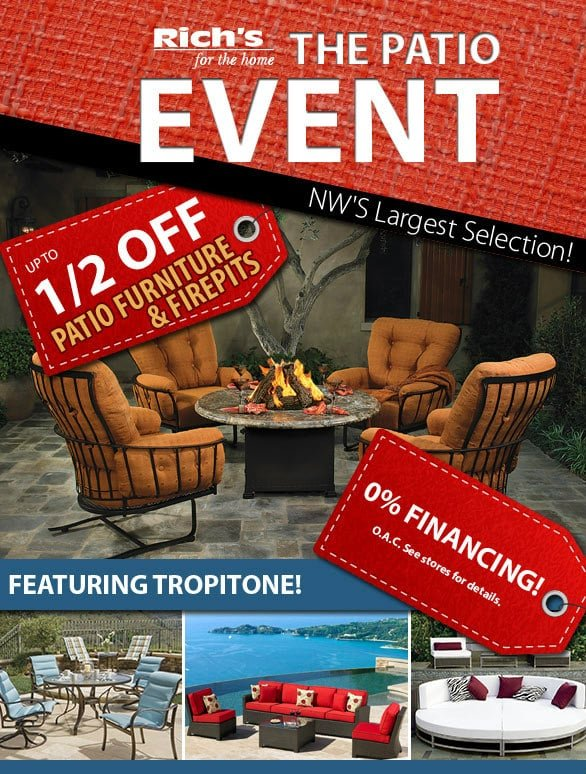 The Patio Event Richs - Half-Off Sale On Patio Furniture And Fire Pits Rich's For The